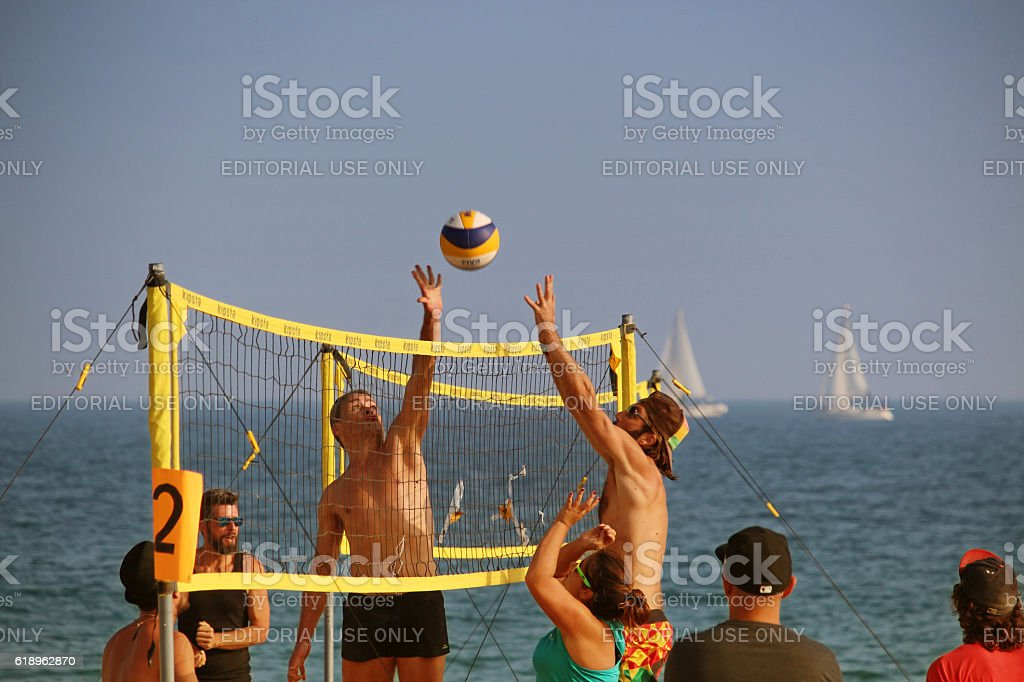 Bogatell october beach volley stock photo
