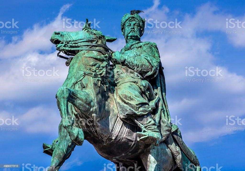 Bogdan Khmelnitsky Equestrian Statue Sofiyskaya Square Kiev Ukraine stock photo