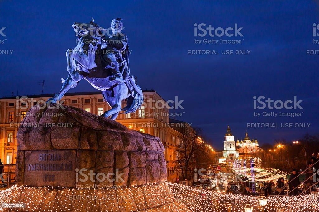 Bogdan Khmelnitsky monument in Kyiv, Ukraine stock photo