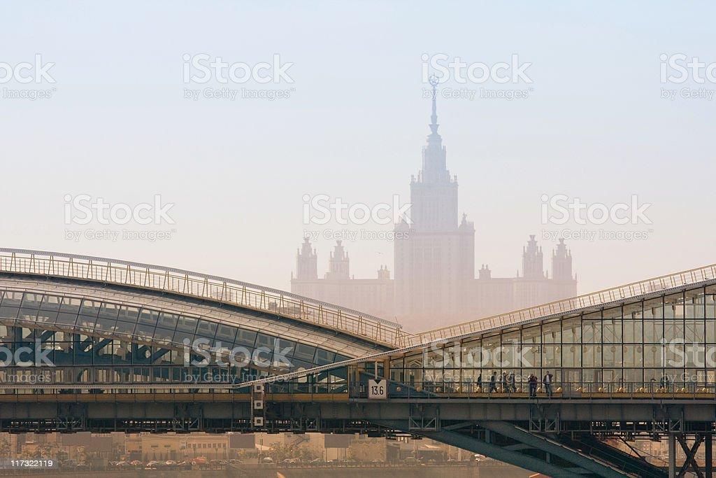 Bogdan Khmelnitsky (Kievsky) Pedestrian Bridge stock photo