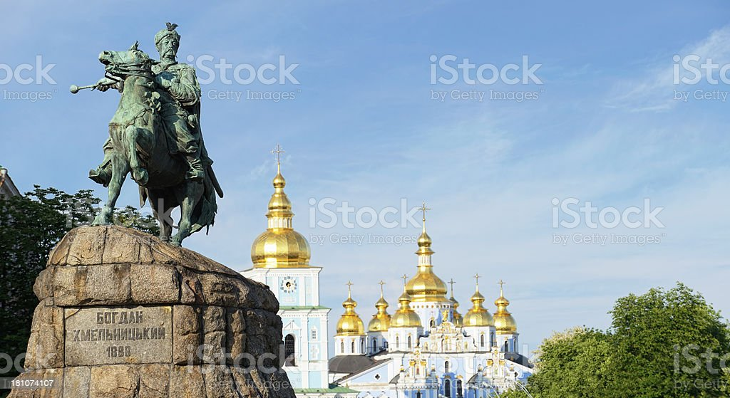 Bogdan Khmelnitsky Statue and St. Michael's cathedral royalty-free stock photo
