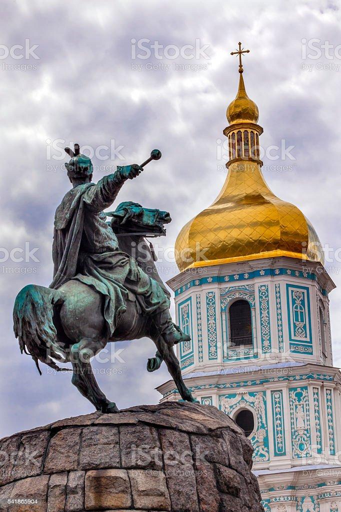 Bogdan Khmelnitsky Statue Saint Sophia Sofiyskaya Square Kiev Ukraine stock photo