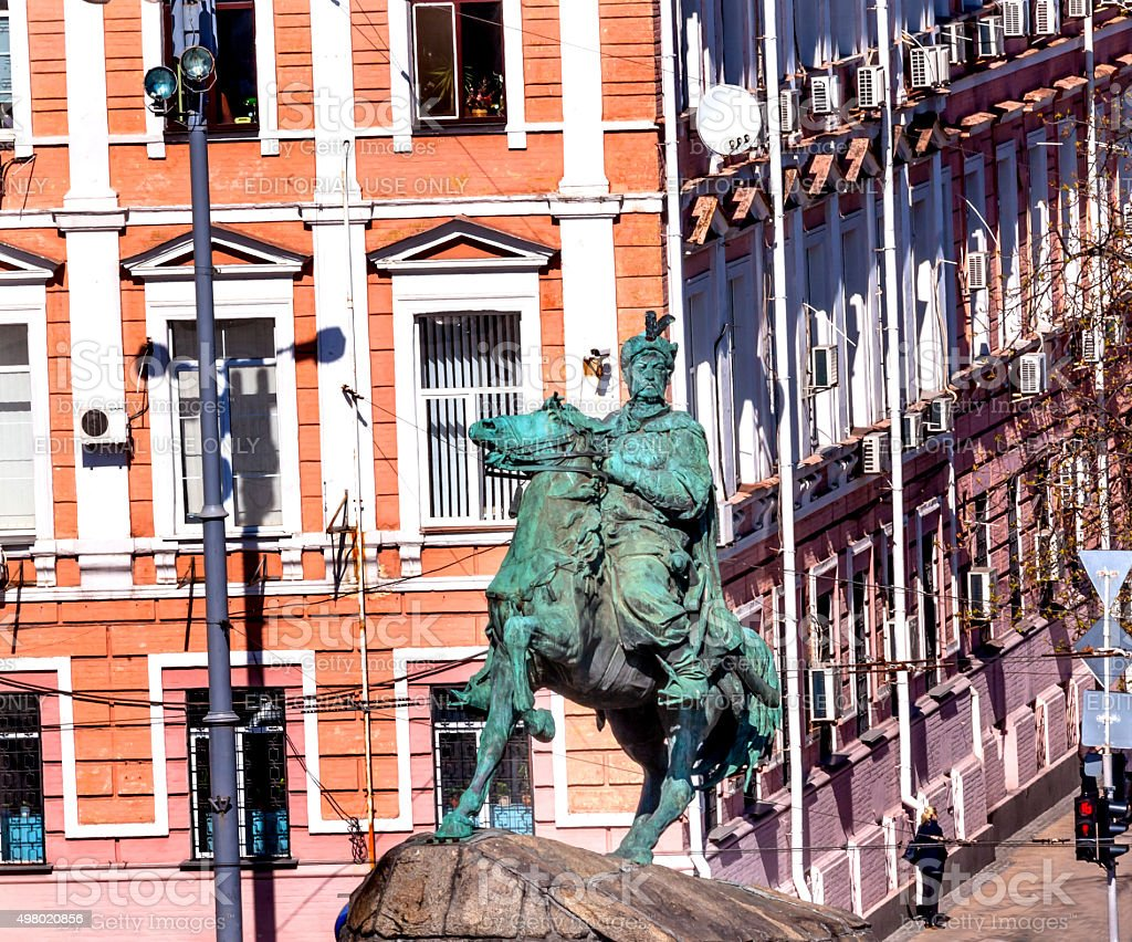 Bogdan Khmelnitsky Statue Sofiyskaya Square Kiev Ukraine stock photo
