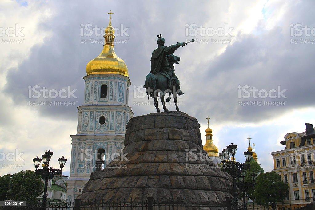 Bogdan Monument & Saint Sofia Church, Kyiv, Ukraine stock photo