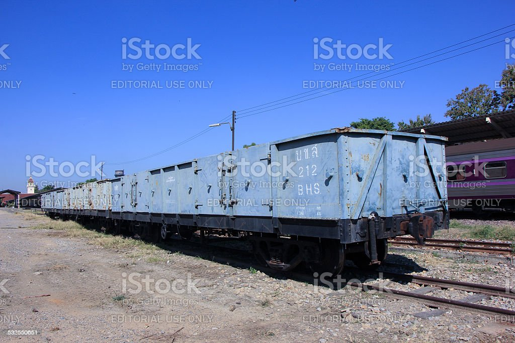 Bogie High Sided Wagon  of Stage railway of Thailand. stock photo
