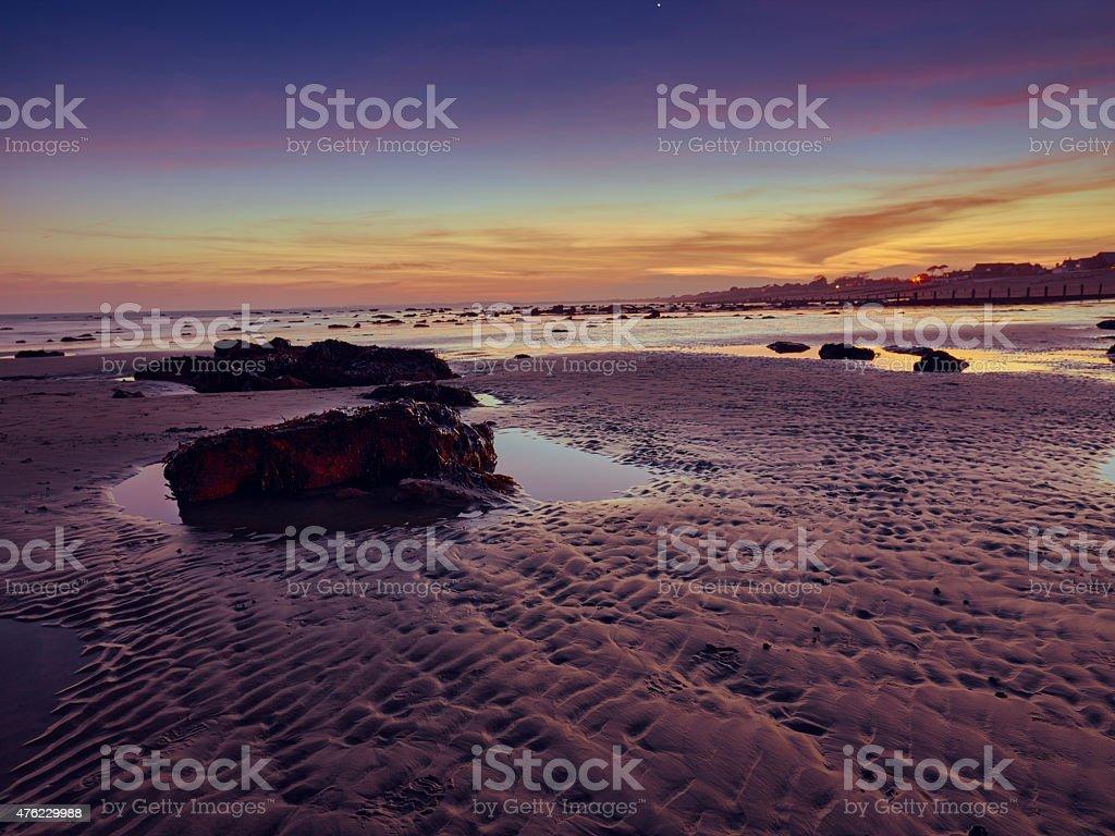 Bognor Regis beach after sunset stock photo