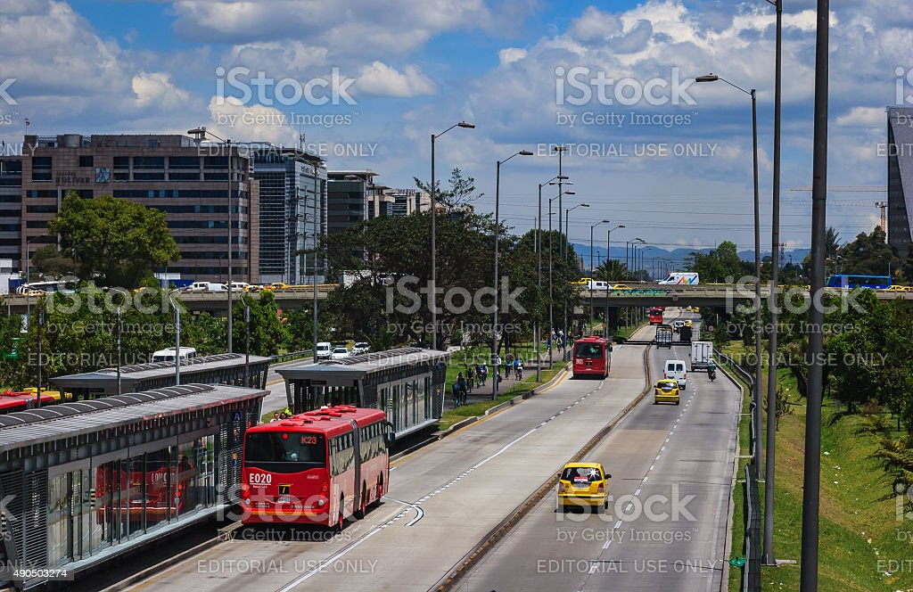 Bogotá, Colombia - Avenida El Dorado on no-car day stock photo