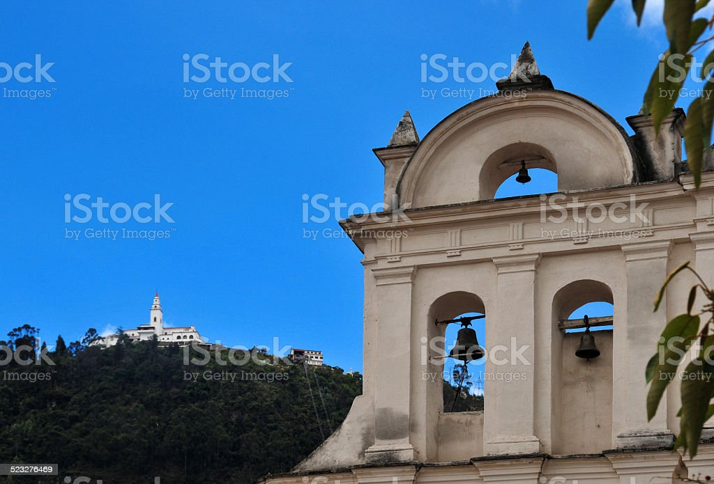 Bogot?, Colombia: bell-gable of Our Lady of the Waters church stock photo