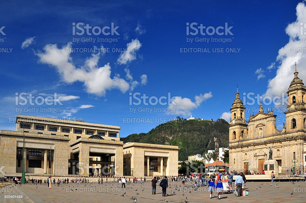 Bogot?, Colombia: Bolivar Square, the center of the old city stock photo