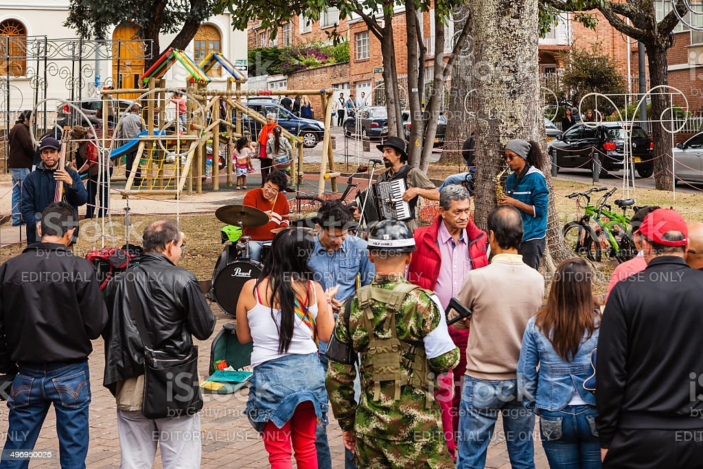 Bogotá, Colombia - Group of musicians busking on Plaza Usaquén. stock photo