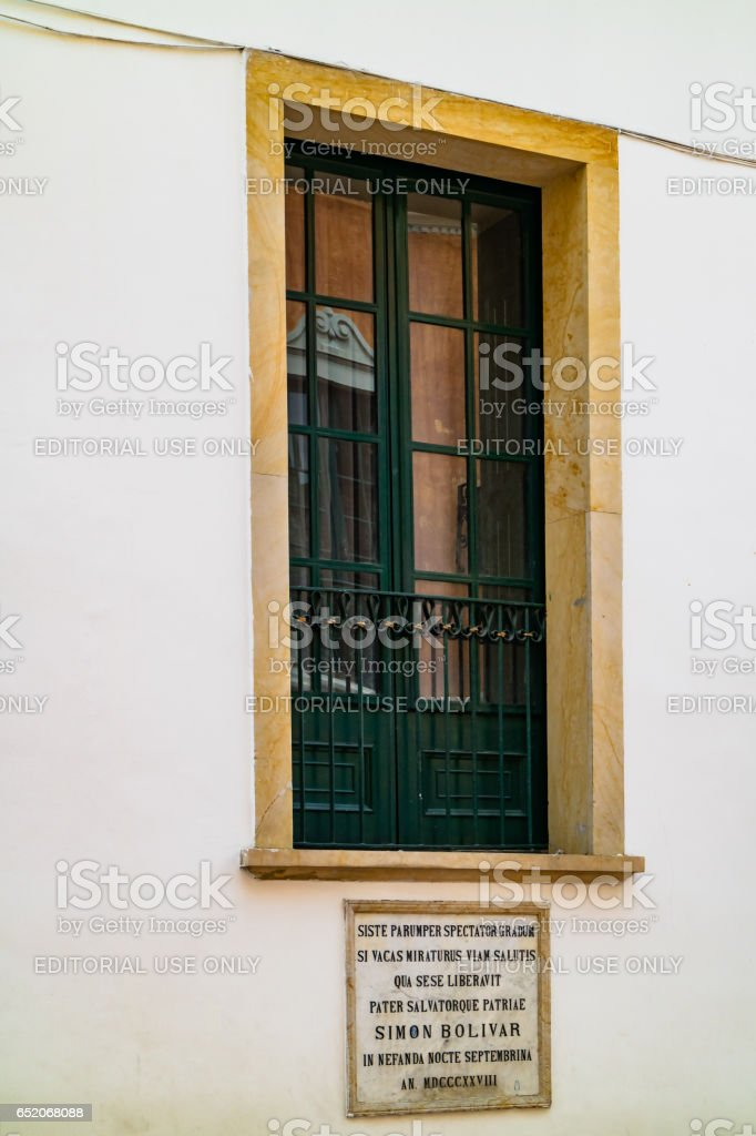 Bogotá, Colombia - Historical Window in Palacio de San Carlos, in La Candelaria District of the Capital City stock photo