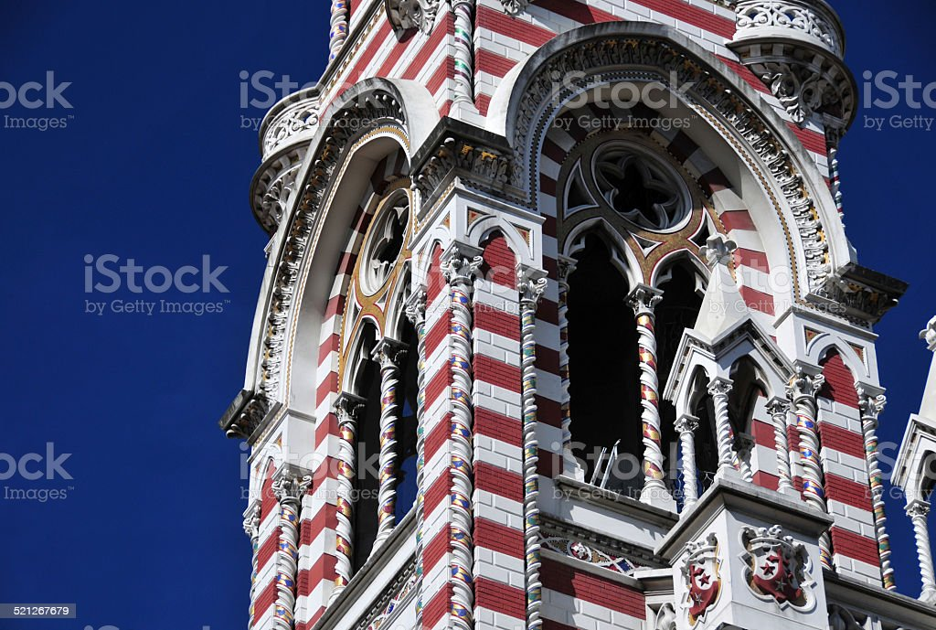 Bogot?, Colombia: Iglesia del Carmen - ornate bell tower stock photo