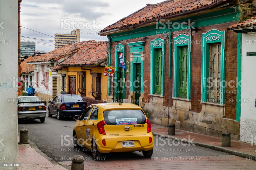 Bogotá, Colombia - Spanish Colonial Style Architecture in La Candelaria, the Historical Centre of the Capital City stock photo