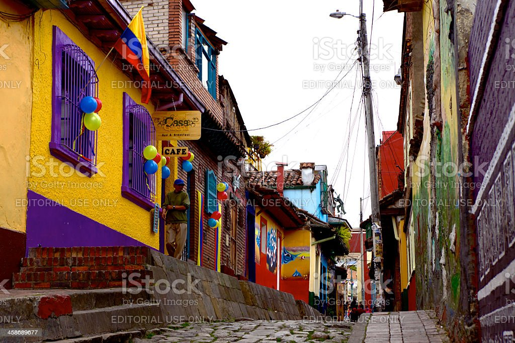 Cobbled street in La Candelaria known as Calle del Embudo, in the...