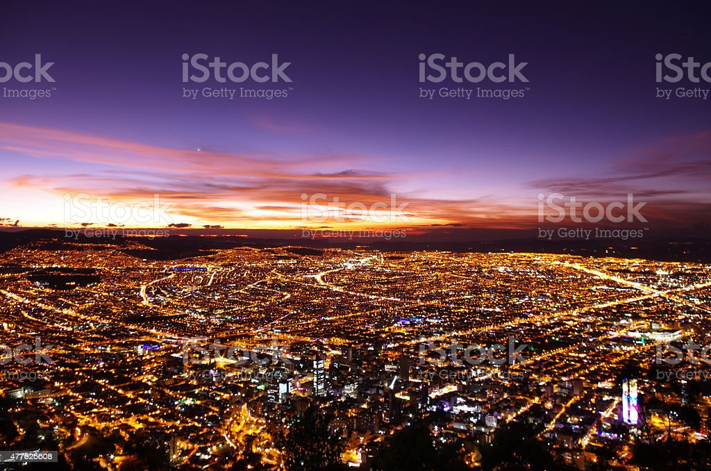 Bogota at sunset from above stock photo