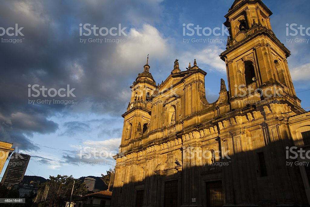 bogota cathedral and city stock photo