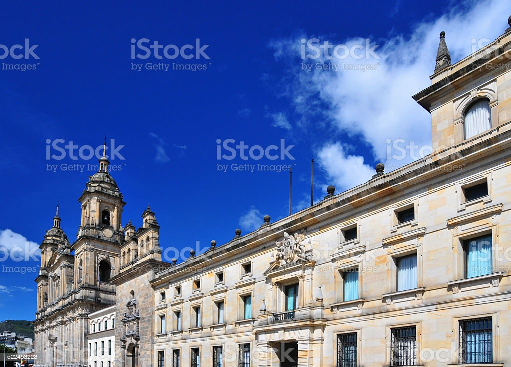 Bogota, Colombia: Archbishop's palace, Sagrario chapel , Cabildo and the Cathedral stock photo