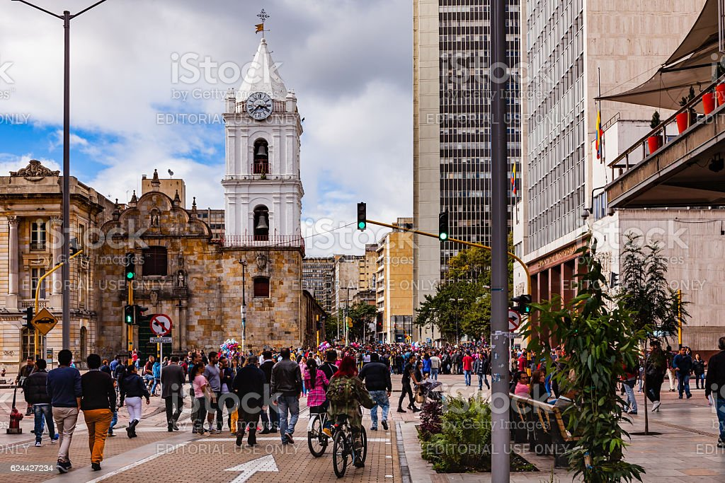 Bogota, Colombia - Carrera Septima on Veinte de Julio 2016 stock photo