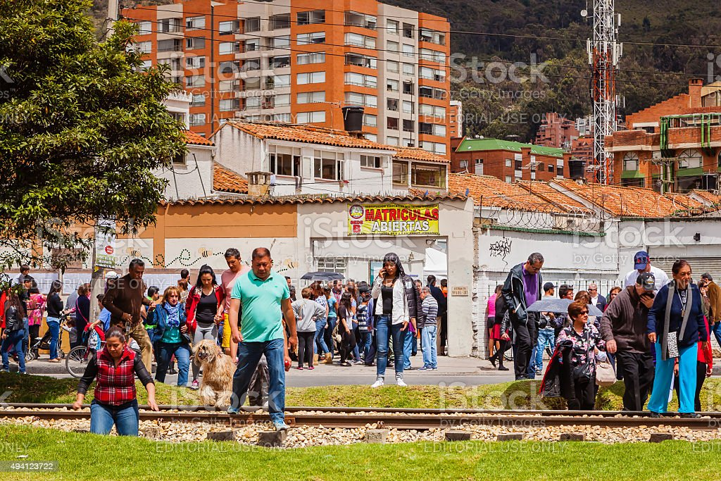 Bogota, Colombia - Election Day voters stock photo