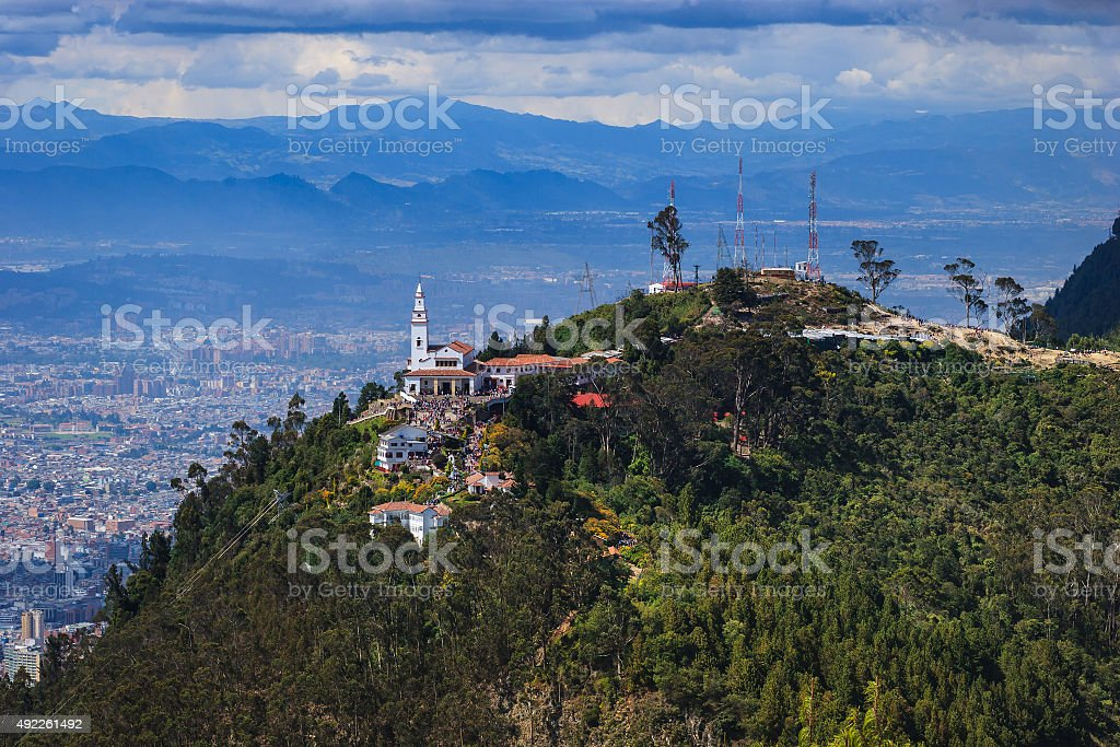 Bogotá, Colombia -  Monserrate and beyond from Guadalupe stock photo