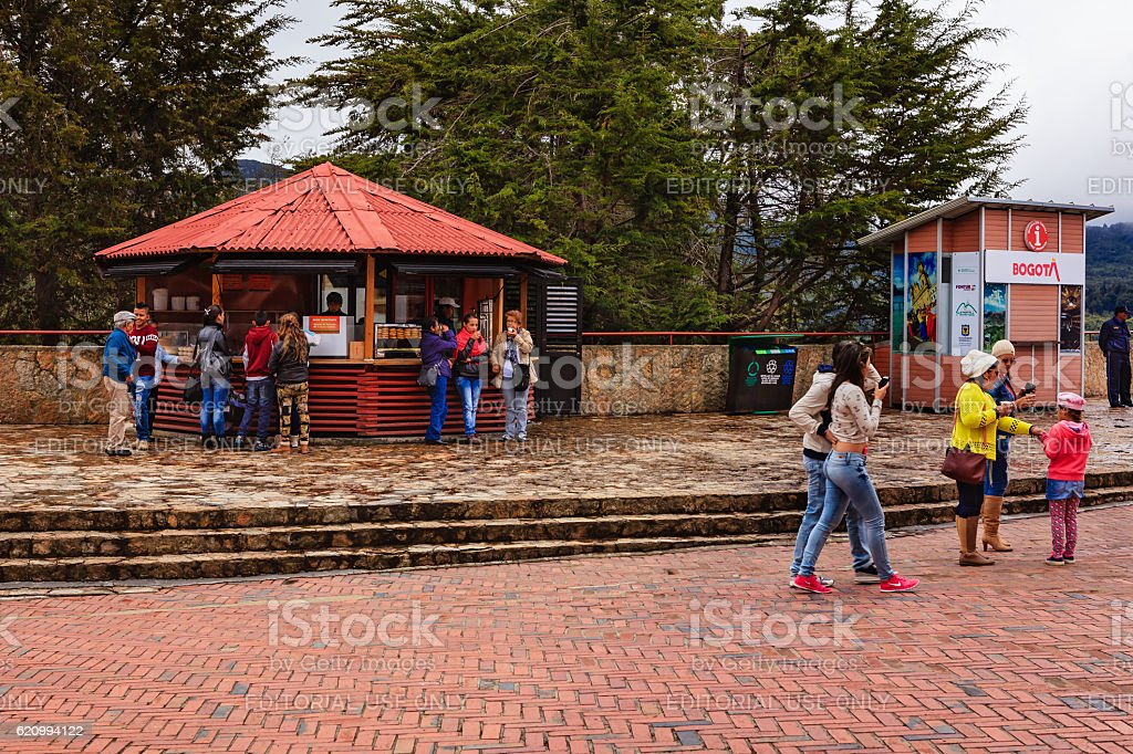 Bogota, Colombia - Local Tourists on Andean Peak of Monserrate stock photo