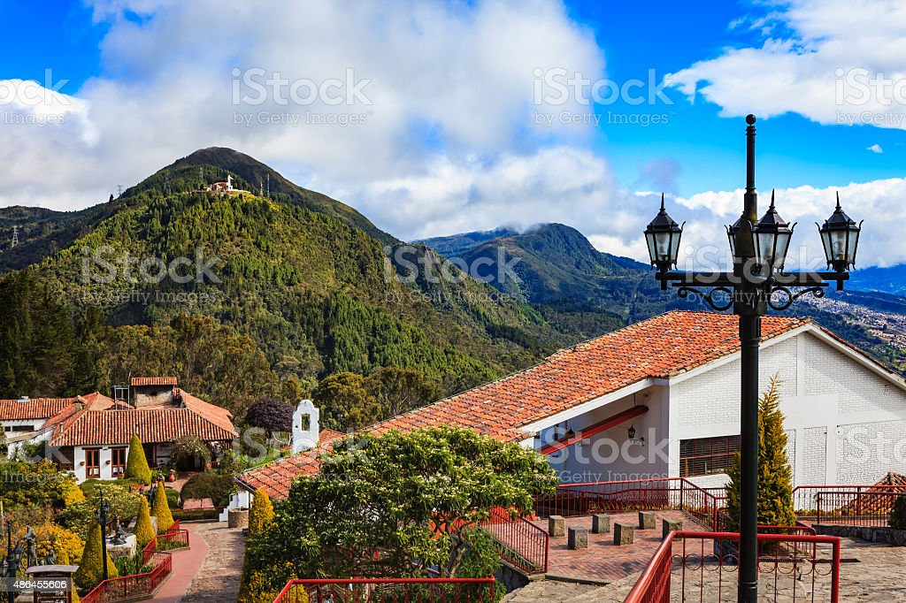 Bogota, Colombia - Looking towards Guadalupe from Andes peak, Monserrate stock photo