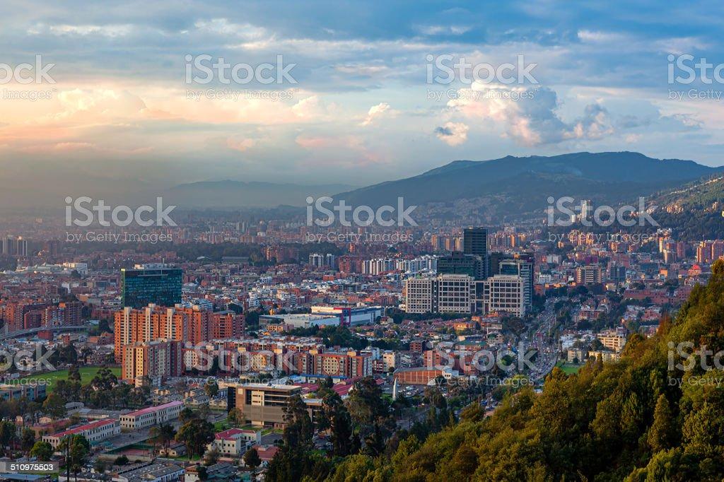 Bogota, Colombia - Looking towards Usaquen from La Calera stock photo
