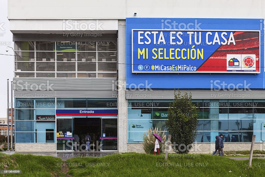 Bogota, Colombia - Main entrance to HomeCenter and advertisement stock photo