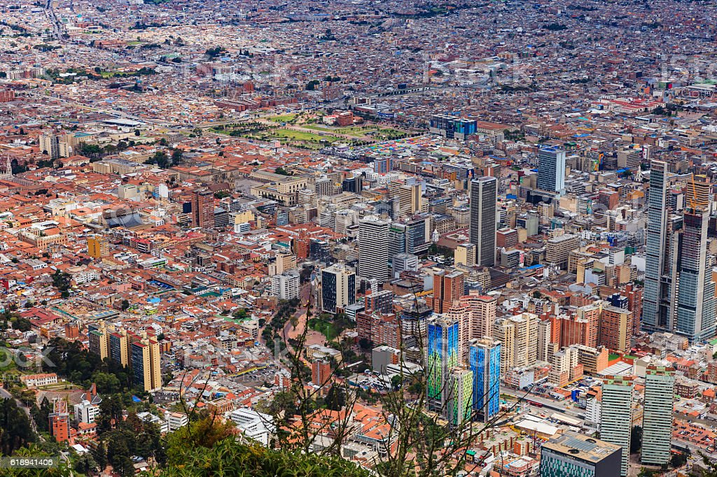 Bogota, Colombia - old and new citycentre viewed from Monserrate stock photo