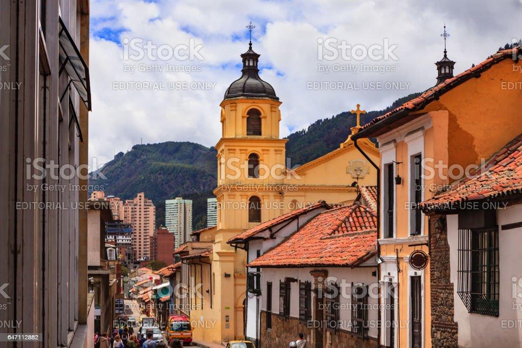 Bogota, Colombia - One of the Baroque Bell Towers of Iglesia de Nuestra Senora de la Candelaria stock photo