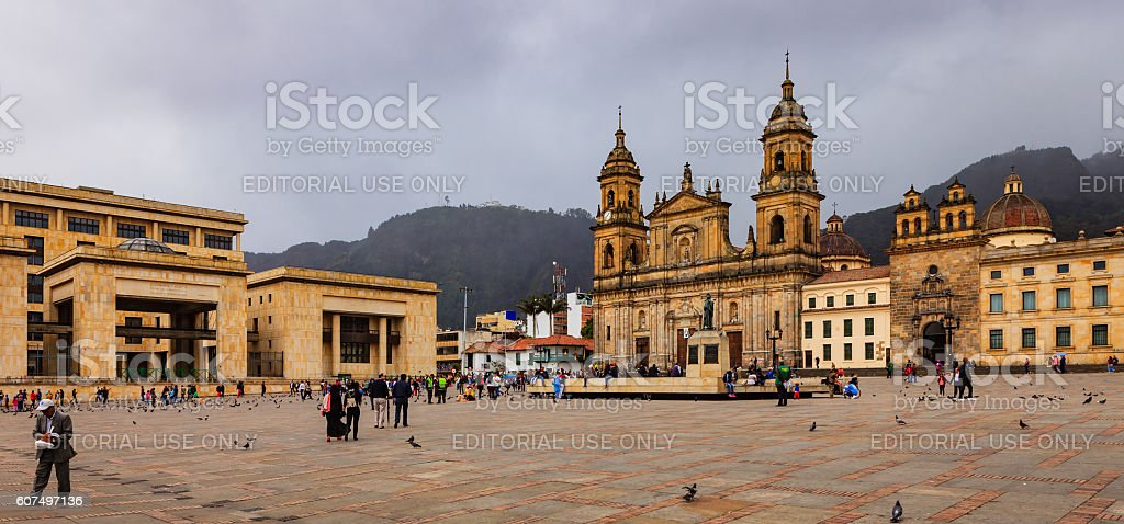 Bogota, Colombia - Plaza Bolivar Classical Spanish Colonial Architecture stock photo
