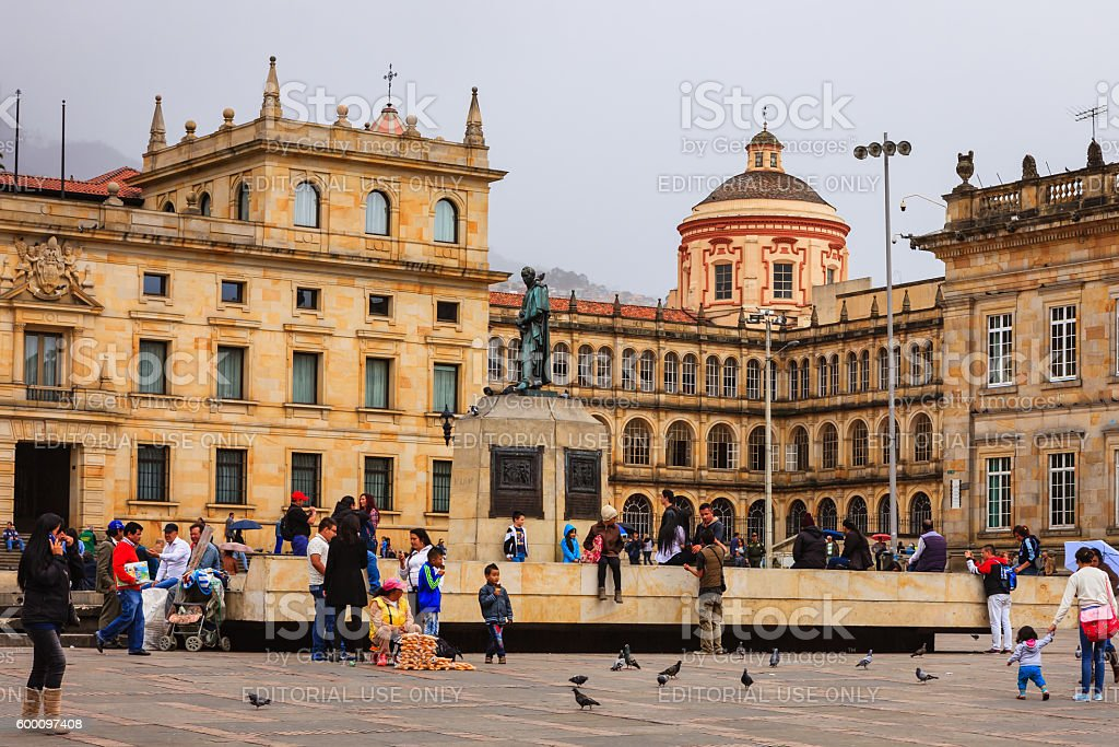 Looking from Plaza Bolivar, in the Andean capital city of Bogota in...