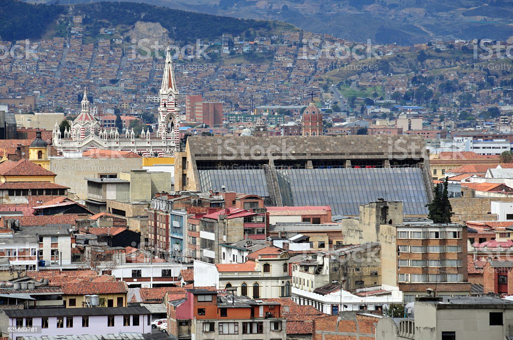 Bogota, Colombia: roofs in the old town stock photo