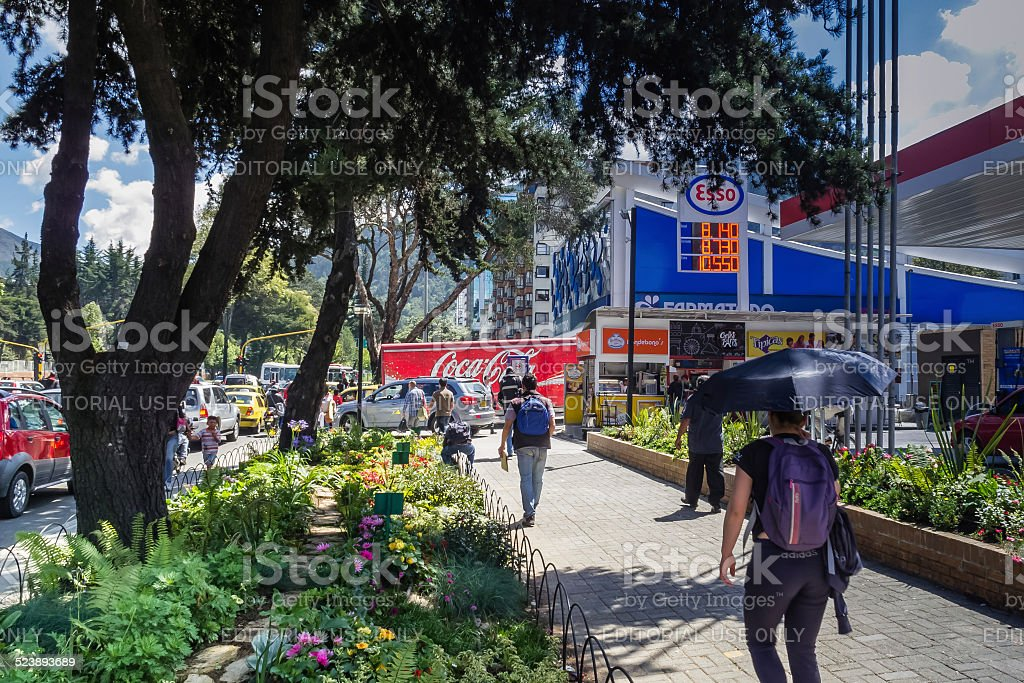 Bogota, Colombia - Sidewalk on the busy 100th Street stock photo