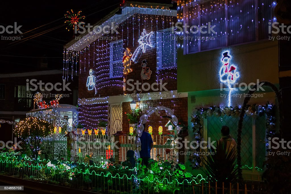 Bogota, Colombia, South America - Christmas lights in residential district stock photo