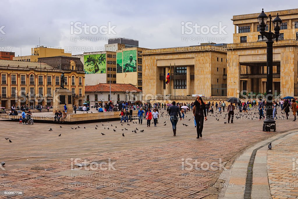 Bogota, Colombia: Supreme Court and Mayor's Office on Plaza Bolivar stock photo