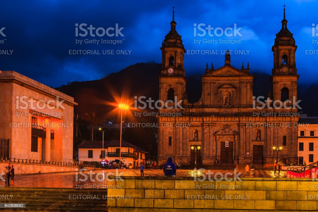 Bogota, Colombia - The Catedral Primada on Plaza Bolivar on a rainy evening, after Sunset, with an almost Ethereal Blue Background stock photo