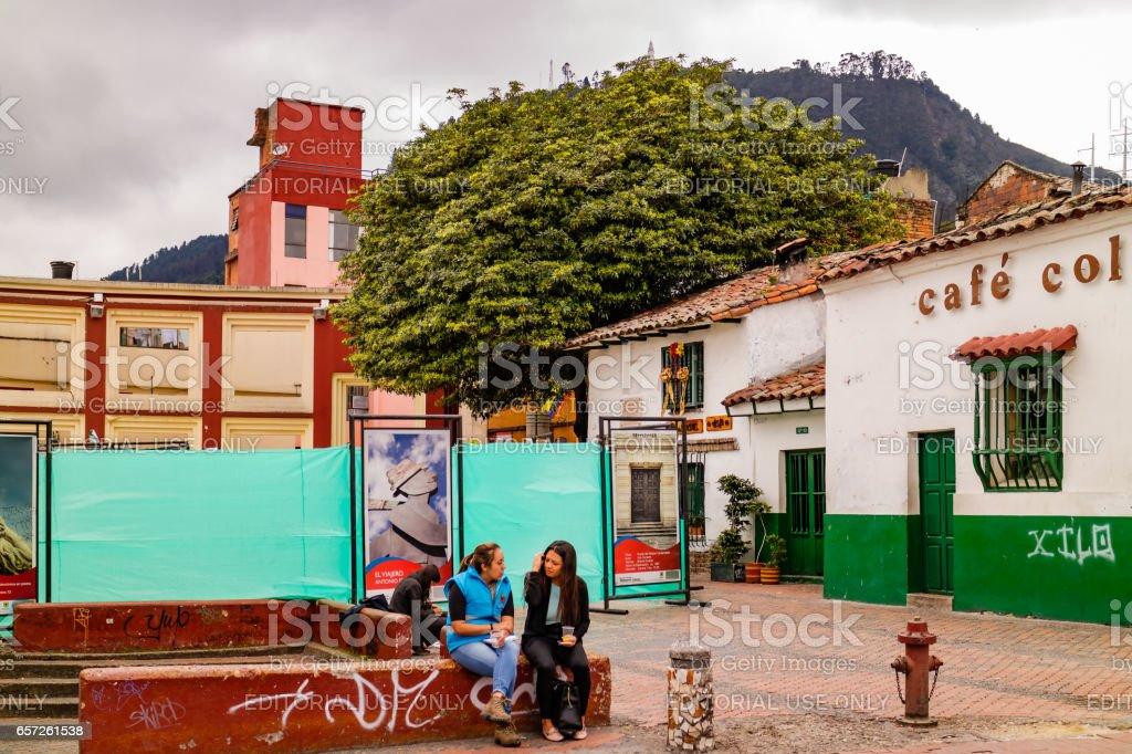 Bogota, Colombia - The Plaza Chorro de Quevedo is Closed for Reconstruction stock photo