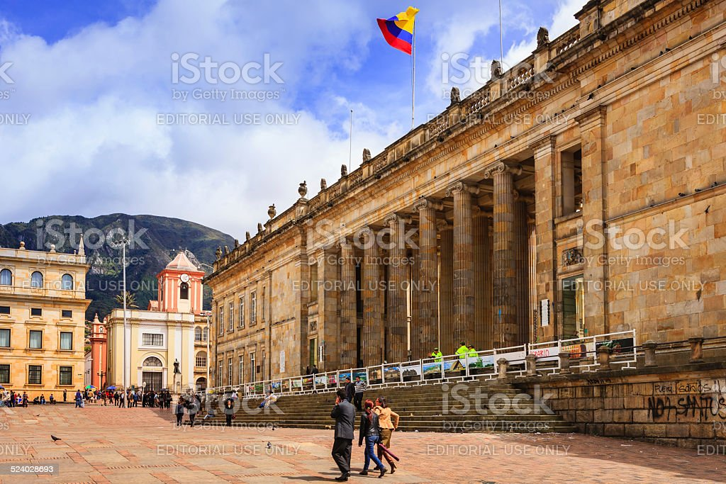 Bogota, Colombia: The seat of the Government; Spanish colonial architecture stock photo
