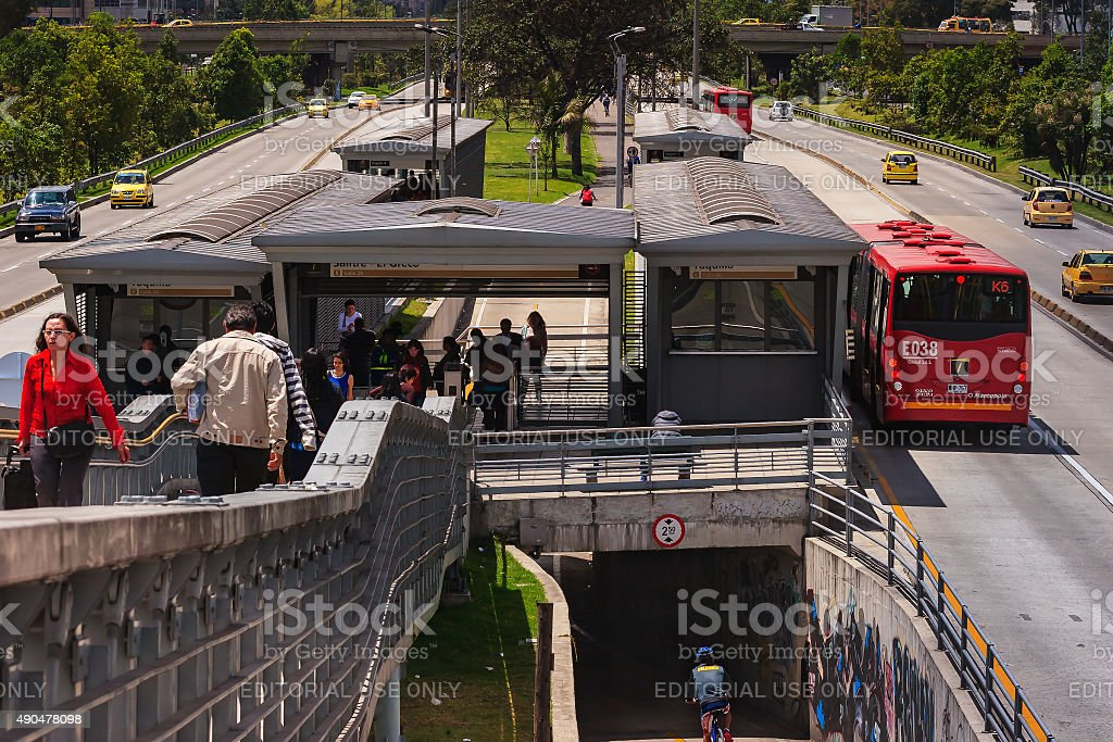 Bogotá, Colombia: TransMilenio station, Salitre El Greco on no-car day stock photo