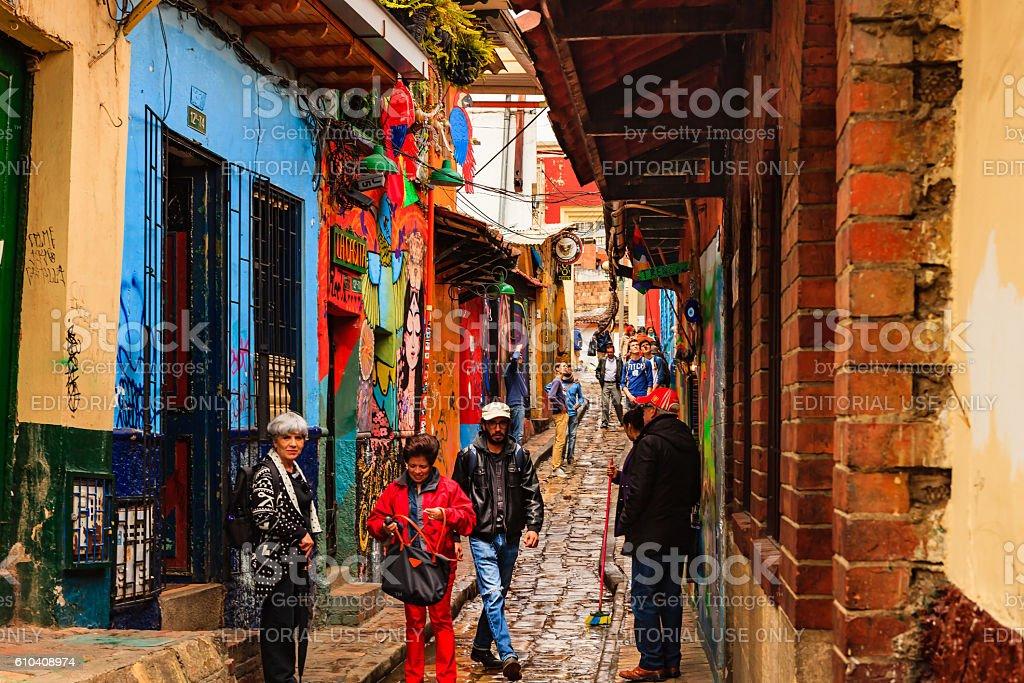 Bogota, Colombia - Tourists on Carrera Segunda in La Candelaria stock photo