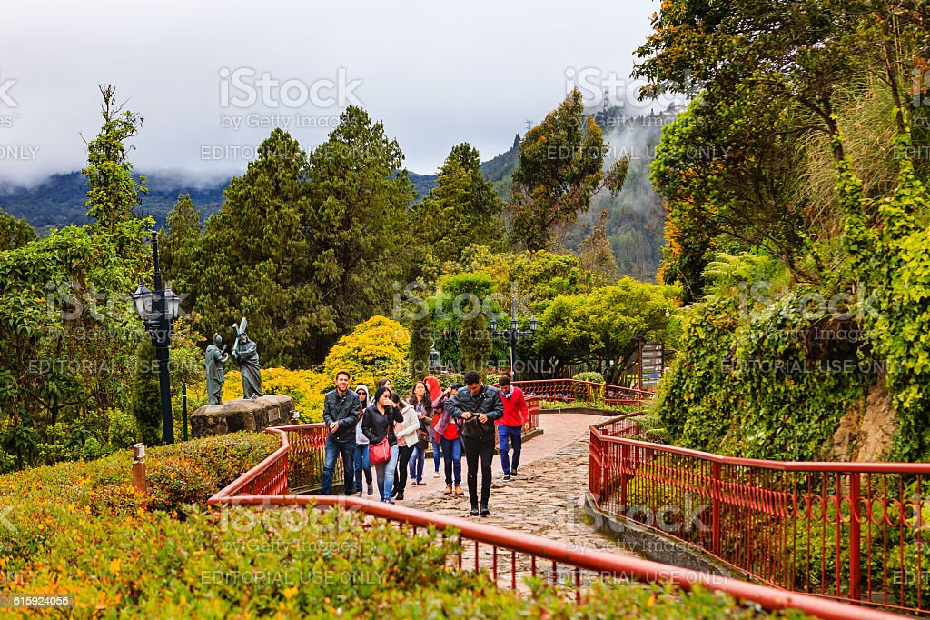Bogota, Colombia - Tourists on Monserrate Peak on Andes Mountains stock photo