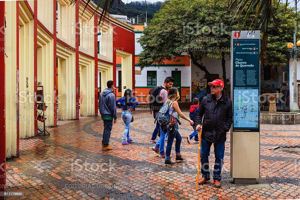 Bogota, Colombia - Tourists on Plaza Chorro de Quevedo stock photo
