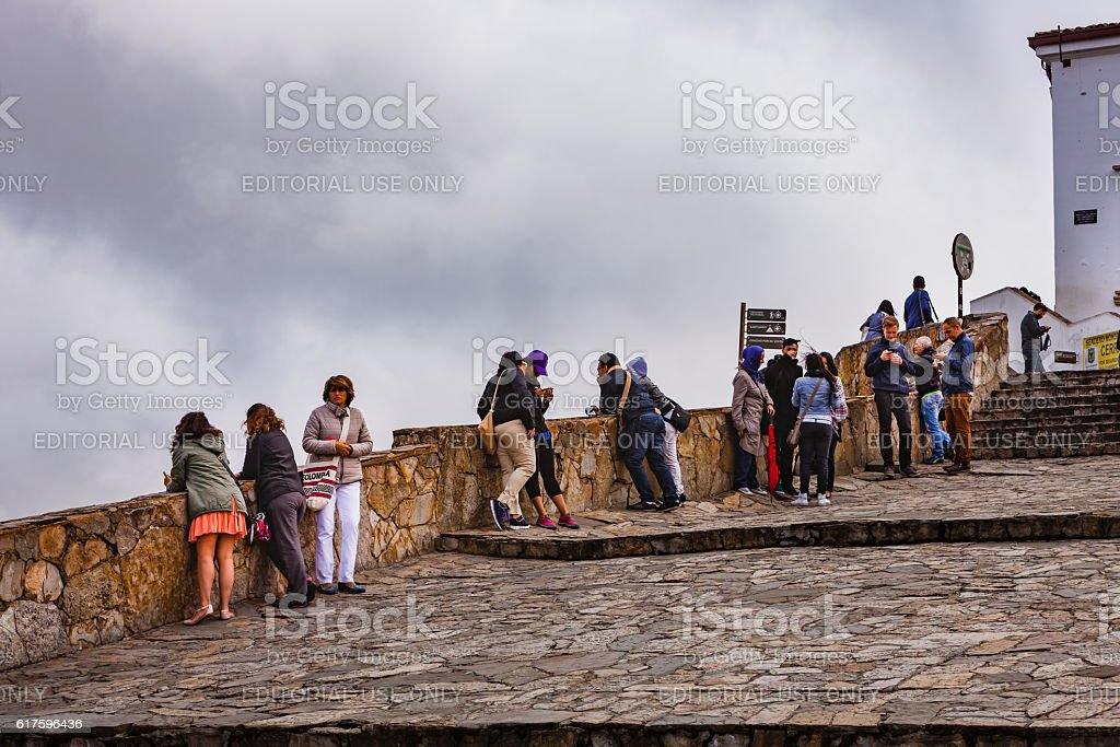 Bogota, Colombia - Tourists view the capital city from Monserrate stock photo