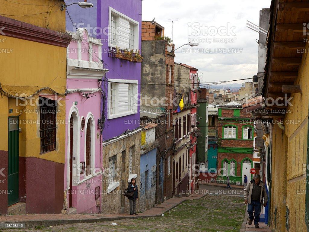 Downhill shot of the street in La Candelaria known as, Calle de las...