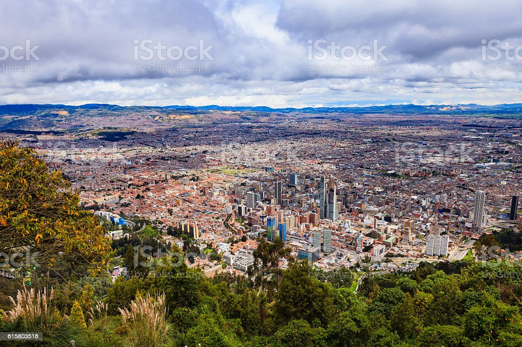Bogota, Colombia - view of capital city downtown from Monserrate stock photo