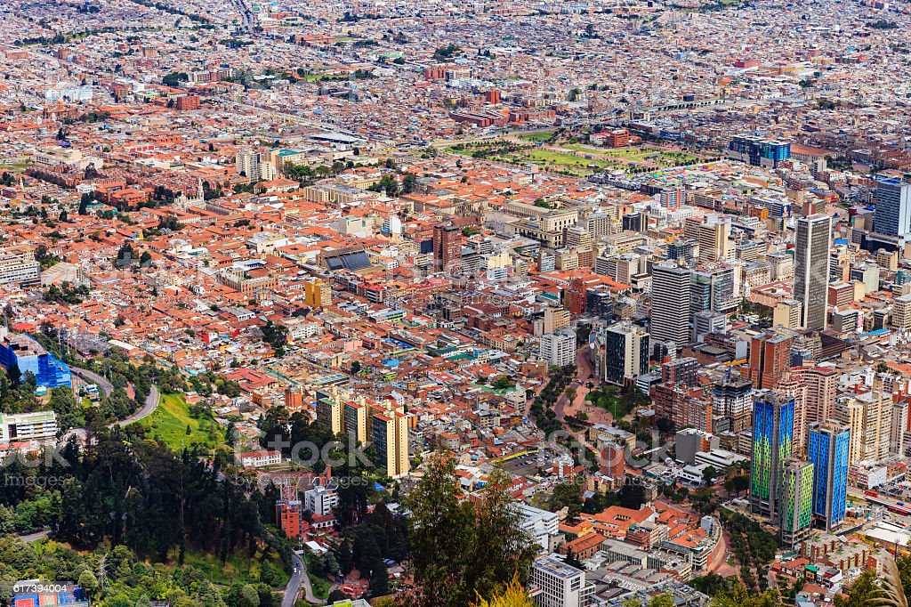 Bogota, Colombia - view of La Candelaria from Monserrate stock photo