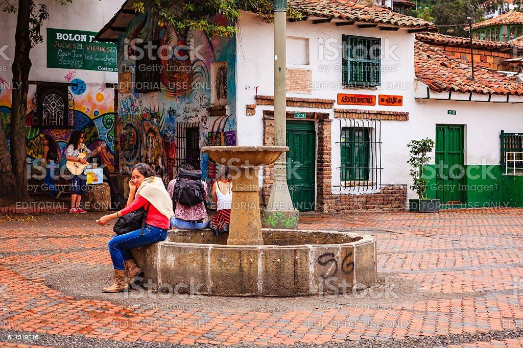 Bogota, Colombia - Visitors on Plaza Chorro de Quevedo stock photo
