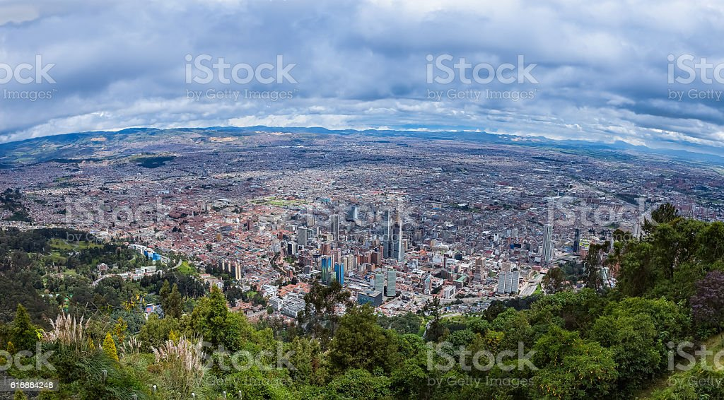 Bogota on The Andes, Panoramic View From Monserrate stock photo