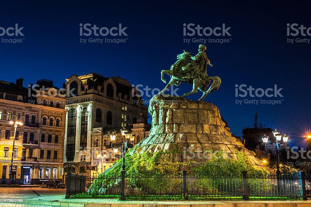 Bohdan Khmelnytsky monument at night stock photo